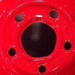 Steel wheel rim powder coated red